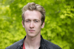 Young man in leather jacket Stock Photography