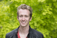Young man in leather jacket Royalty Free Stock Photos
