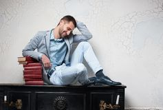 Young man of letters is in meditation Stock Photos