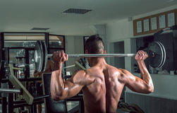 Young man lifting barbell. View from behind. Stock Photography