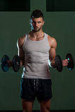 Young Man Lifting Dumbbell In Gym Royalty Free Stock Image