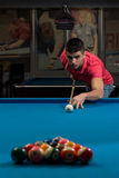 Young Man Lining To Hit Ball On Pool Table Royalty Free Stock Photo