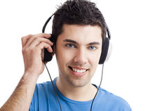 Young man listen music Stock Photos