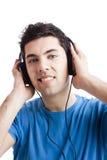 Young man listen music Stock Photos