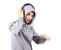 Young man listen music with headphones Royalty Free Stock Images