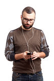 Young man listen music on smartphone Stock Photo