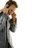 Young man listening loud music Royalty Free Stock Photo