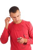 Young man listening music Stock Photos