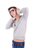 Young man listening to music Royalty Free Stock Image