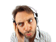 Young man listening to music Stock Photos