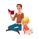 Young man and little girl reading books sitting legs crossed. On the floor, cartoon vector illustration  on white background. Man and girl, father and daugther Royalty Free Stock Photos