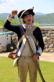 Young man loading guns,Fort Ticonderoga,New York,2014 Royalty Free Stock Photos