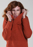 Young man with the long, auburn hair Royalty Free Stock Photos