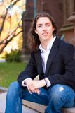 Young Man with Long Hair Royalty Free Stock Photos
