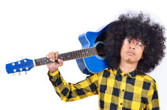 Young man with long hair. And blue guitar Stock Photos