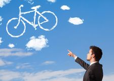 Young man looking at bicycle clouds on blue sky vector illustration