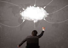 Young man looking at cloud transfer world service Royalty Free Stock Images