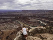 Young man looking down on the Colorado River at Dead Horse Point State Park royalty free stock images