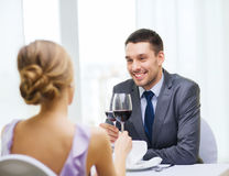 Young man looking at girlfriend or wife Stock Photos