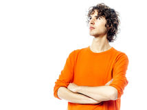Young man looking up portrait Stock Images