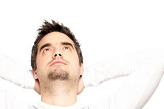 Young Man Looking Up Stock Image