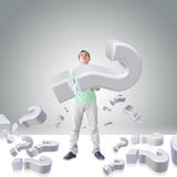 Man with question marks Stock Photography