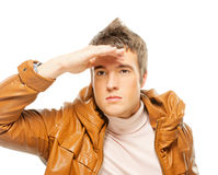 A young man looks forward Royalty Free Stock Image