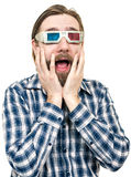 The young man, looks through stereo glasses Stock Photos