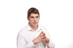 Young man looks thoughtfully Stock Photos