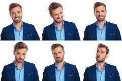 Young man with lots of moods. A man with lots of moods, posing on white background, collage image stock photography