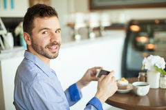 Young man loves food photography Stock Image
