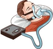 Young Man Lying On Bed With Sleeping Apnea And CPAP.  royalty free illustration