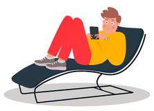 Young man lying on the couch. Young man scrolls through the news feed on his tablet. Vector illustration. Young man lying on the couch. Young man scrolls through vector illustration