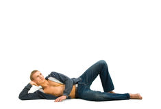 Young man lying and dreaming Royalty Free Stock Photo