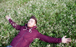 Young man lying on a field of flowers Royalty Free Stock Images