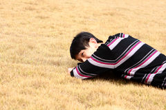 Young man lying on grass Royalty Free Stock Images