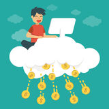 Young man make money on cloud. Online business concept illustration. stock illustration