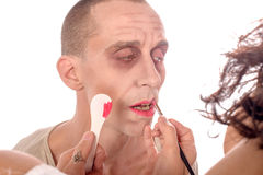 A young man make-up for the show Royalty Free Stock Photos