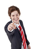 Young man making finger gesture Stock Image