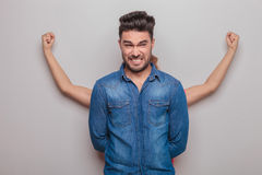 Young man making a funny face Stock Photography