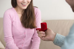 Young man making marriage proposal to girlfriend, engagement rin Stock Photo