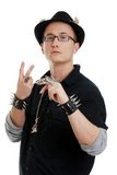 Young man making a peace sign gesture Stock Photo