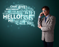 Young man making phone call with word cloud Stock Images