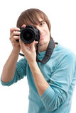 Young man making photo Royalty Free Stock Photography