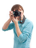 Young man making photo. Front view Stock Images