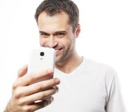 Young man making photo of himself Royalty Free Stock Photography