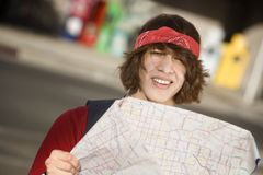 Young Man with a Map Stock Photography