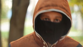 Young man in mask stock footage