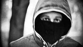 Young man in mask stock video