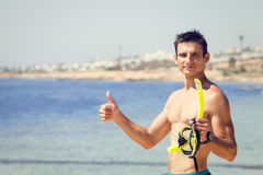 Young man with mask and snorkel Stock Image